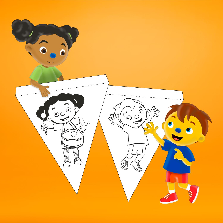 Download vlaggetjes van Loeloe en Pompom voor jouw klas.