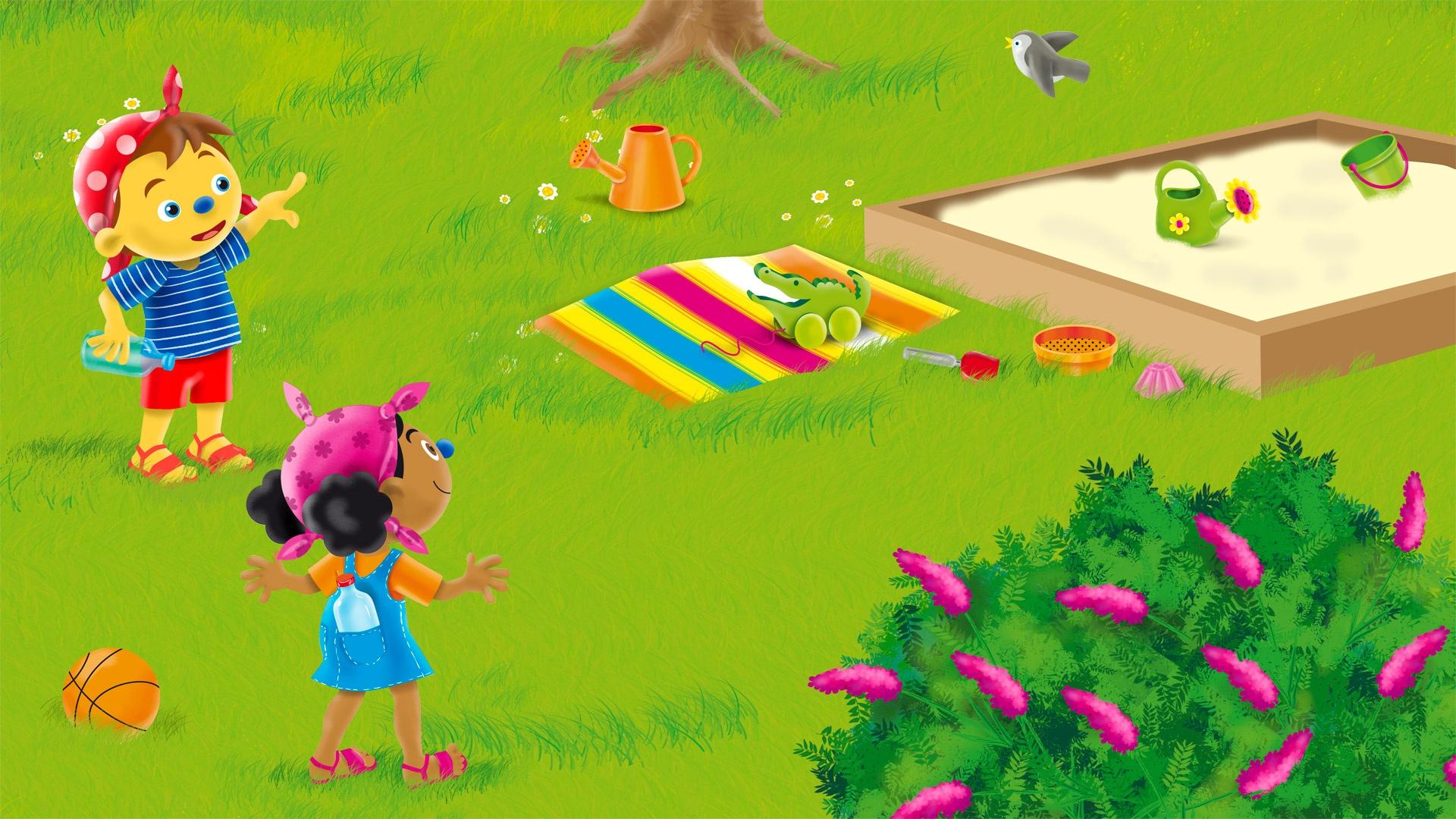 Buiten spelen met Loeloe en Pompom